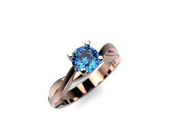 Blue Diamond Engagement Ring Rose Gold Engagement Ring Genuine Blue Diamond Ring Blue Diamond Engagement Ring Rose Gold Ring