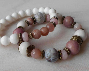 Bead bracelet women Large bead bracelet Pink and white bracelet Healing bracelet for women Beaded bracelet Pink gemstone bracelet set of 2