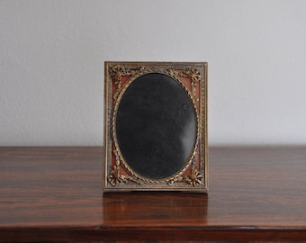 Antique Victorian Reverse Painted Brass Picture Frame - Ornate/Filigree