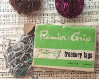 1960s Vintage retro light blue & green treasury tags by Premier-Grip. British made. New old stock, unused.