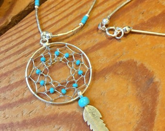 Silver & Turquoise Dreamcatcher Necklace