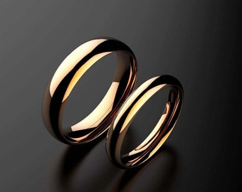 Matching Rose Gold Wedding Bands Court Style 18ct