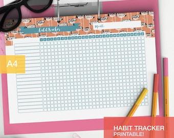 Printable Habit plan - Planner inserts - College student Bullet journal habit page - Bujo inserts habit chart - v1