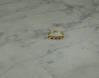 14K  Yellow Gold / Ruby / Diamond Ring ( size 5.25 )