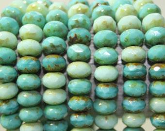Czech Glass Beads, 8x6mm Rondelles, 25 Beads