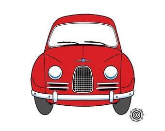 Classic SAAB 93/96 T-SHIRT choice of car and shirt colors! 100% cotton Vintage Saab 93 art by Wheels All Over