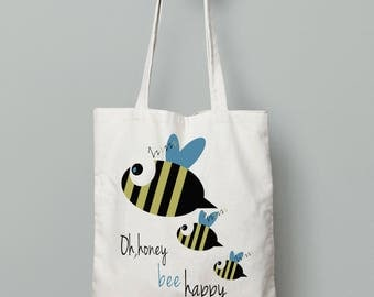 Bee happy, Bee bag, Canvas tote bag, Printed tote bag, school tote bag, Shopping Bag, Reusable Bag, tote bag cotton, Gifts for teen girls