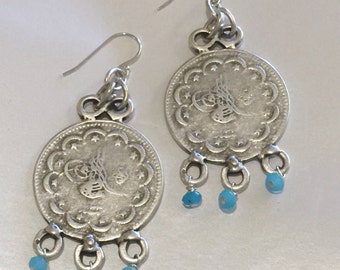 Large coin earrings with Amazonite