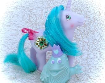 Vintage G1 Princess Sparkle & Bushwoolie 1987 My Little Pony Unicorn Horn Original Ponies 80s Hasbro Kawaii Purple Blue 1980s Gem Tinsel