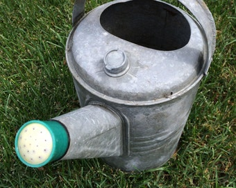 Vintage Watering Can with Green Spout