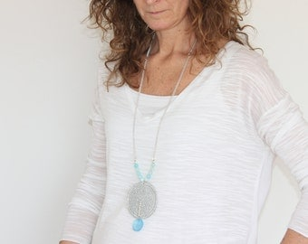 Blue necklace for women, starfish necklace with pendant, Ethinic long statement necklace, boho long statement necklace