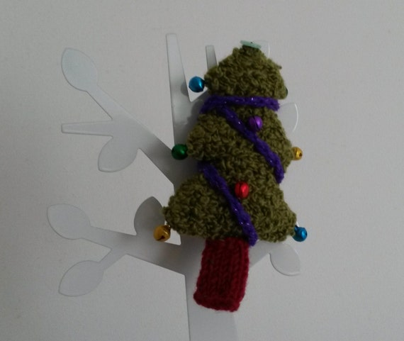 """Knit mini Chrismas tree with jingling bells; beautiful ornament or decoration. 4"""" tall. Soft stuffie. Handmade in Ireland. Knitted Christmas"""