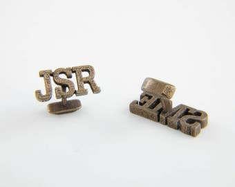 Personalized cufflinks in stainless steel - bronze colour, Custom Monogram Cufflinks, Fathers day gift, Groom cufflinks, Wedding cufflinks.