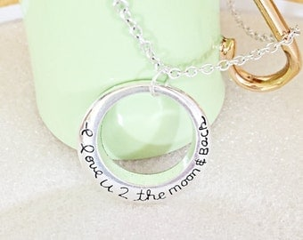 I love you to the moon and back Gift, To The Moon And Back Necklace, Engraved I Love You To The Moon, Charm Necklace, Love Necklace Gift