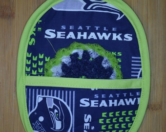 Seattle Seahawks' Potholder Mitt with matching Scrubbie