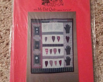My Doll Quilt #70 by Patrice and Company - Homespun Muslin Heart and Hand Quilt Stitchery Wall Hanging - Uncut Craft Pattern