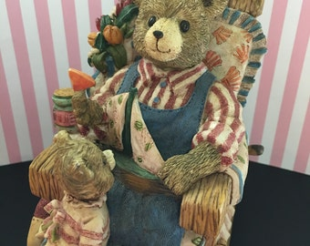 Large Teddy Bear Figurine with Cub-Music box