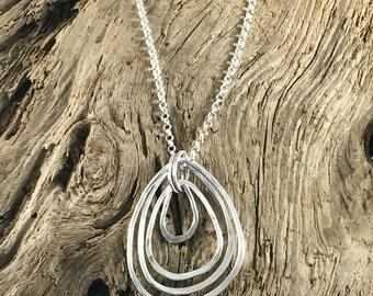 sterling silver necklace - teardrop necklace - sterling teardrop - silver teardrop - layered necklace