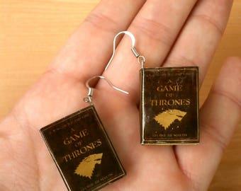 Мini book earrings, miniature book earrings, fantasy fans earrings, fantasy books, modern fantasy book, book jewelry, fantasy readers gift