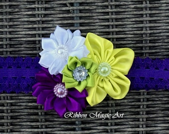 Elastic Baby Girl Headband, Yellow/Purple Flower Hair Bow For Babies and Toddlers, Flower Headband, Kanzashi style flower