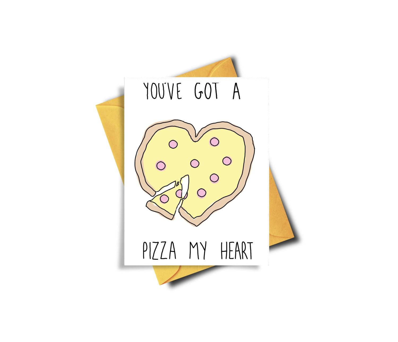 Funny Birthday Card Pizza Card Love Card Funny Valentine