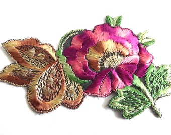 Antique Applique butterfly on flower applique 1930s vintage embroidered applique. Vintage floral patch, sewing supply. #6A8G43KB