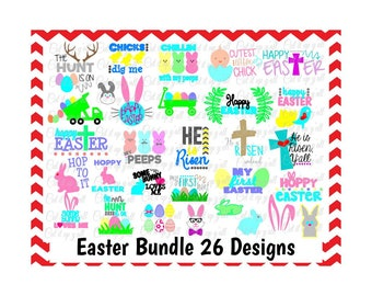 Easter Bundle, 26 Designs, Svg & Dxf, Easter Cutting Files For Silhouette Cameo/ Cricut, Instant Download.