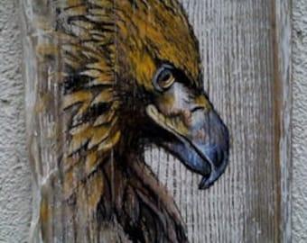 Eagle, Nature, Vintage Original Painting on Wood, Original Art