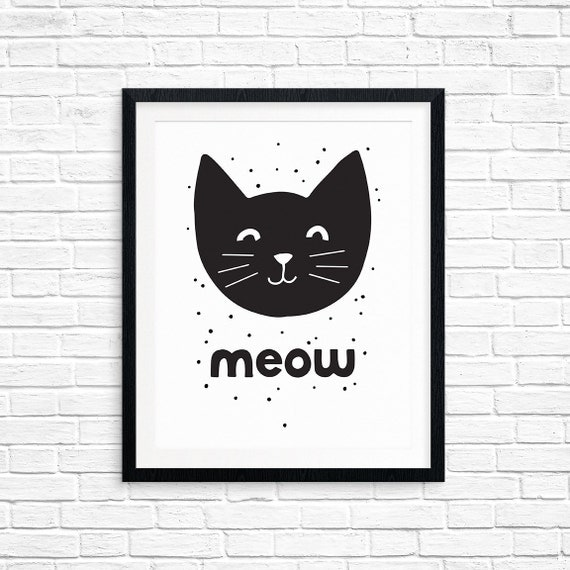Printable Art, Meow, Black Cat Art, Illustration, Nursery Art, Cat Lovers, Children's Art, Art Printable, Home Decor, Digital Download Print