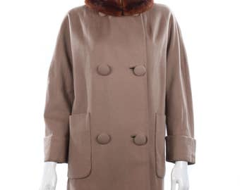 Crayson wool vintage coat with mink collar