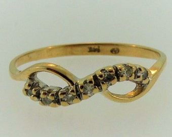 Vintage Diamond Bow Ring- 14k Yellow Gold