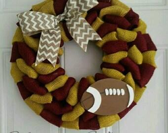 Football wreath team wreath winter wreath fall wreath Burgundy wreath Maroon wreath **message me about other team colors**