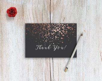Rose Gold Thank You Card Printable 4x6 Thank You Card Instant Download Thank You Cards DIY Thank You Card Digital Download Bridal Shower DIY