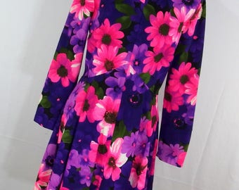 Vintage 60s Mod Dress Purple Pink Floral Flower Child Womens Size 14 Double Knit It's Better Fit and Flare J3