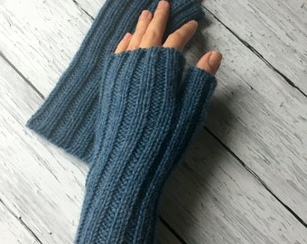 Fingerless Gloves | Denim Blue Fingerless Mitts | Gloves for Women | Hand Warmers | Knitted Mittens