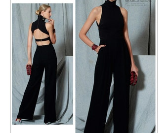 Sewing Pattern for Misses' Open-Back Banded JUMPSUIT, Vogue Pattern 1524, Custom Fit Jumpsuit, Rebecca Vallance Designer Original Pattern