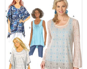 Sewing Pattern for Misses' Pullover Tunics and Tops, Butterick Pattern 6173, Plus Sizes Available, Summer Poncho, Tank Tunic, Sheer Blouse