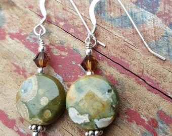 Rainforest Jasper, Crystal and Sterling Silver Dangle Earriings, Rhyolite Jasper Gemstone, Crystal and Sterling Silver Dangle Earrings