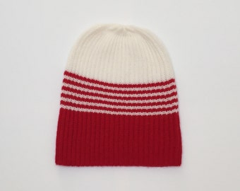 Cashmere knit hat has two colours, red white, cashmere