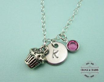 Custom Cupcake Charm Necklace, Swarovski Birthstone, Charm Necklace, Necklace, Custom, Sterling Silver Necklace, Cupcake Necklace. CFD001