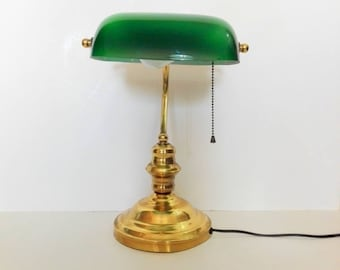 French Bankeru0027s, Vintage Desk Lamp, Table Lamp, Opal Glass, Green Glass,
