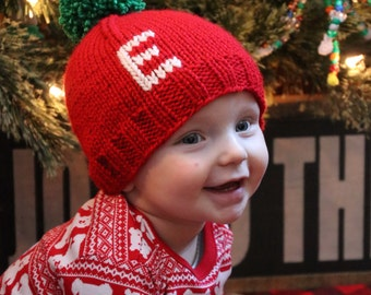 Red Christmas Monogram Hat, Knit Holiday Baby Beanie, Personalized Gift for Child, First Christmas Outfit, Newborn Photography Prop Hat