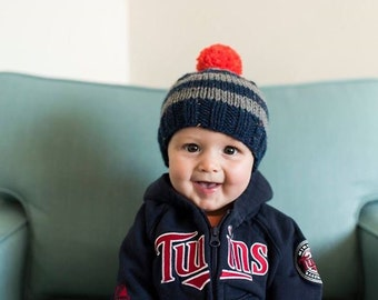 Striped Baby Boy Beanie Navy and Grey Baby Hat Big Pom Baby Hat Newborn Photo Prop Hat Going Home Outifit for Boy Gift for Baby Boy