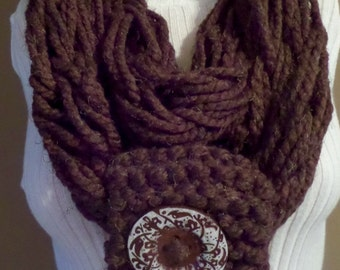 Wood Brown One-of-a-Kind Hand-Knit Infinity Scarf with Button - M