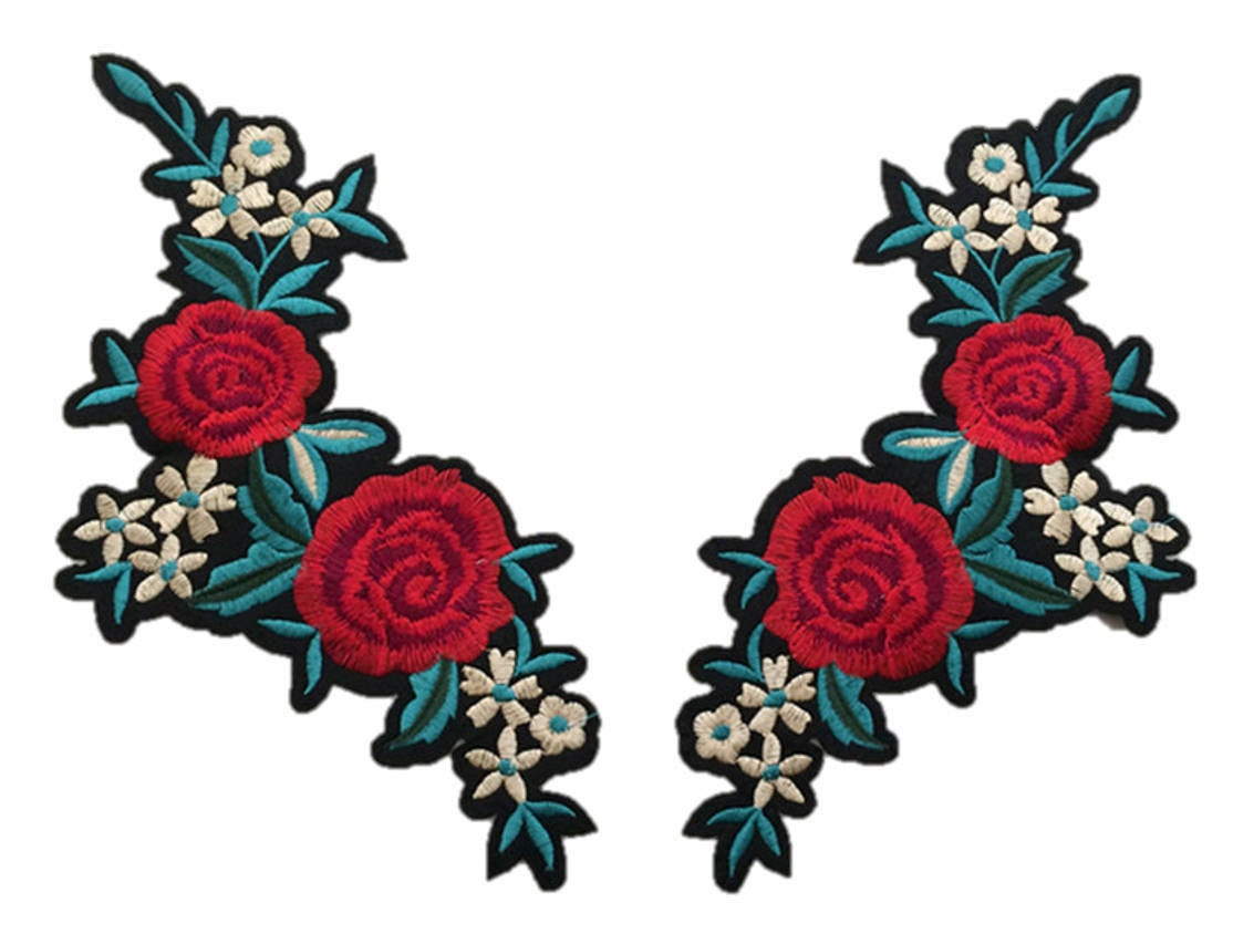 Flower embroidery patches embroidered roses diy sew on