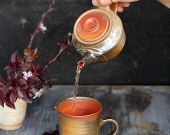 Tea for one set, Handmade ceramic teapot for one, Small ceramic pot, Small teapot, Teapot and cup, Ceramic teapot, Individual tea set