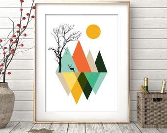 Minimalist Abstract Art, Geometric Print, Mountains Print, Nordic design, Abstract Art, Abstract Poster, Wall Art Prints, Instant Download