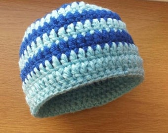 Crochet baby boy hat, crochet baby hat, newborn hat, baby beanie, blue baby hat, baby hats for boys, baby winter hat, spriped baby hat.