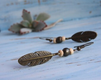 BOHO feather earrings - ethnic jewelry - gypsy style - wooden beads and bronze feather charms - bohemian chic style - women's earrings