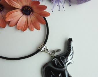 "Long vegan leather black necklace - carved elephant pendant - black hematite stone - Superb original jewel - ""blood stone"" - pregnancy gift"